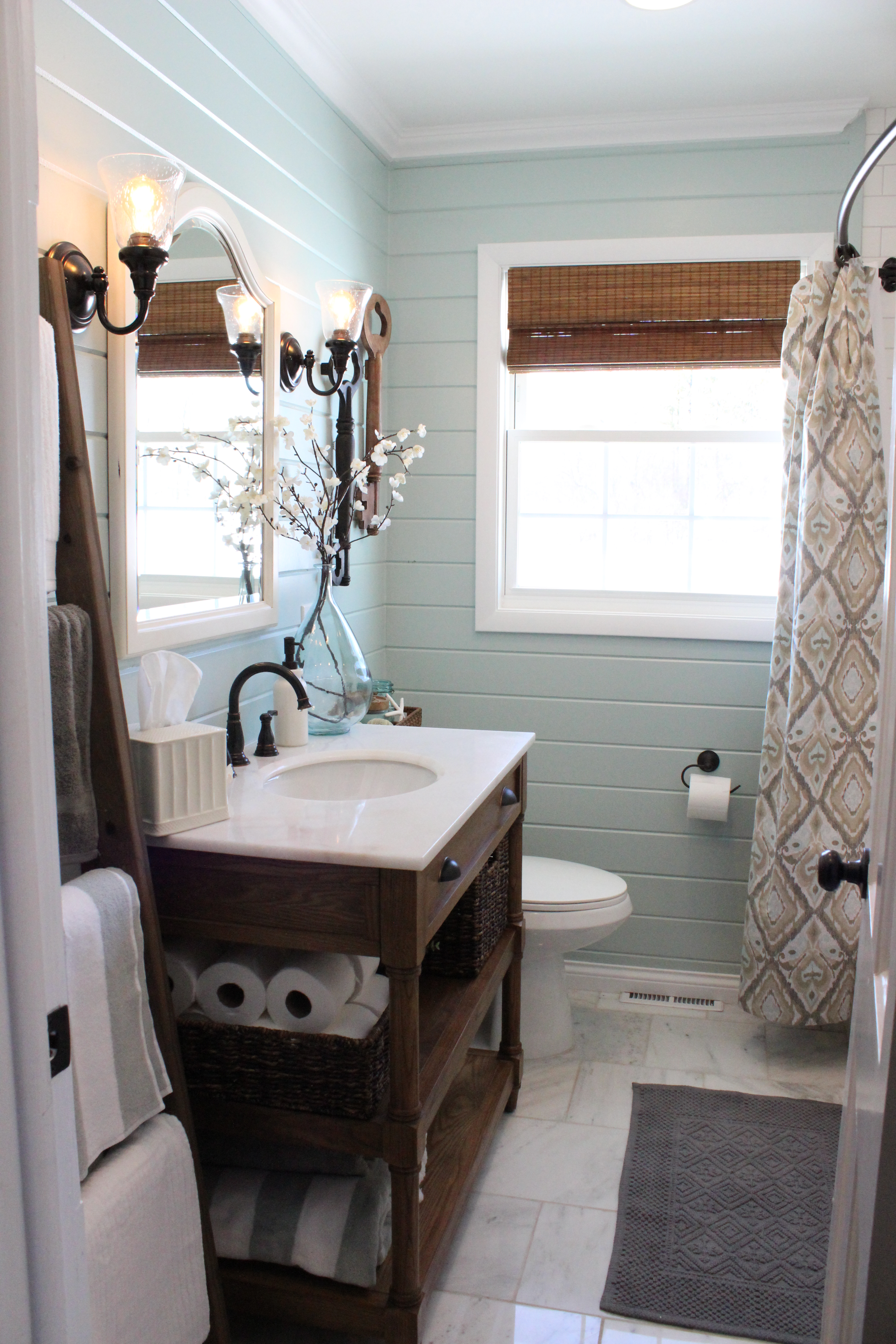 Benjamin moore palladian blue bathroom - Since The Last Bathroom Update We Added Our Diy Towel Ladder Step By Step Here And Decorated The Vanity With Baskets Towels Etc
