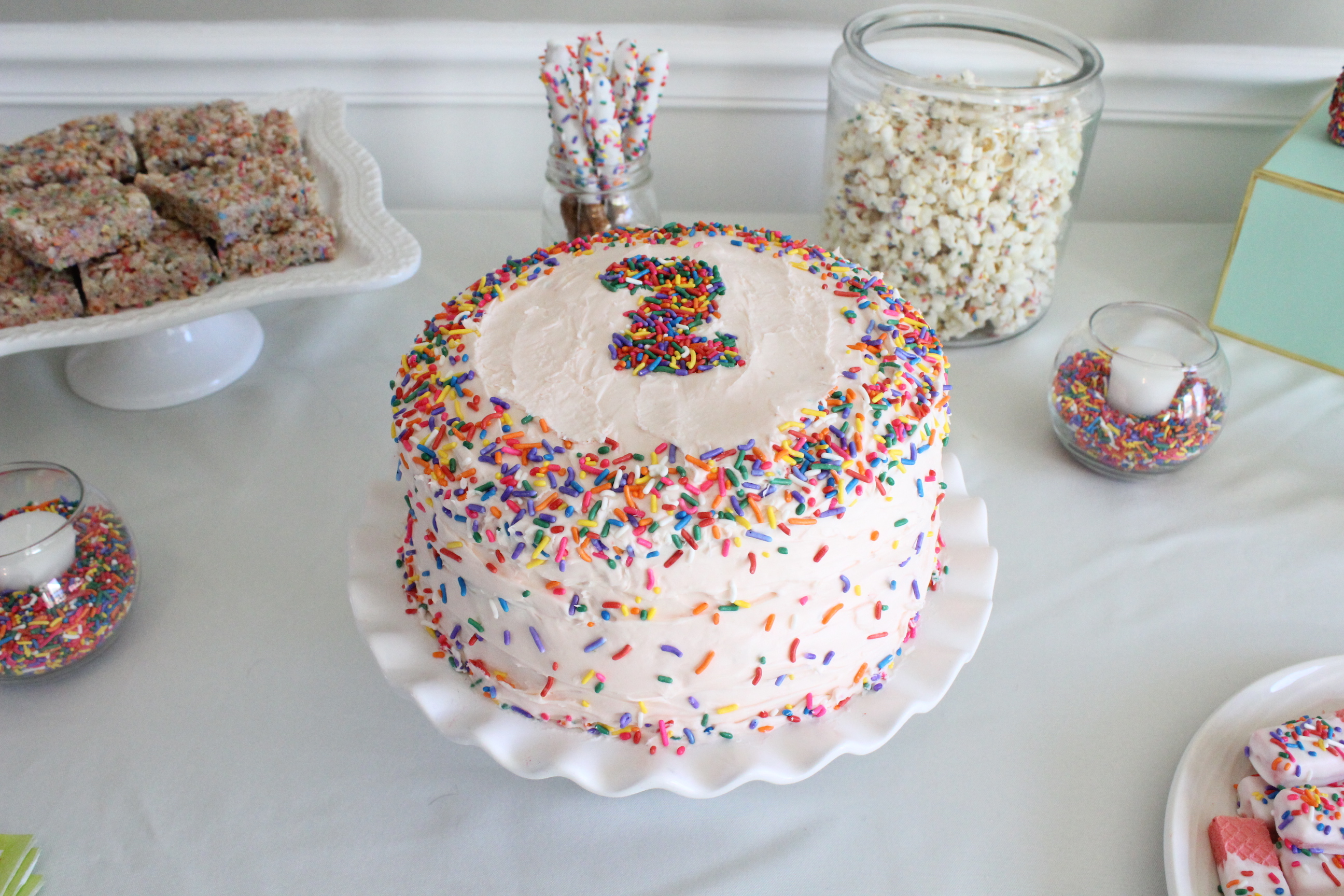 I Made Cupcake Puppy Chow Birthday Cake Batter Popcorn This Was So Good Funfetti Rice Crispy Treats And Then Dipped Pretzel Rods