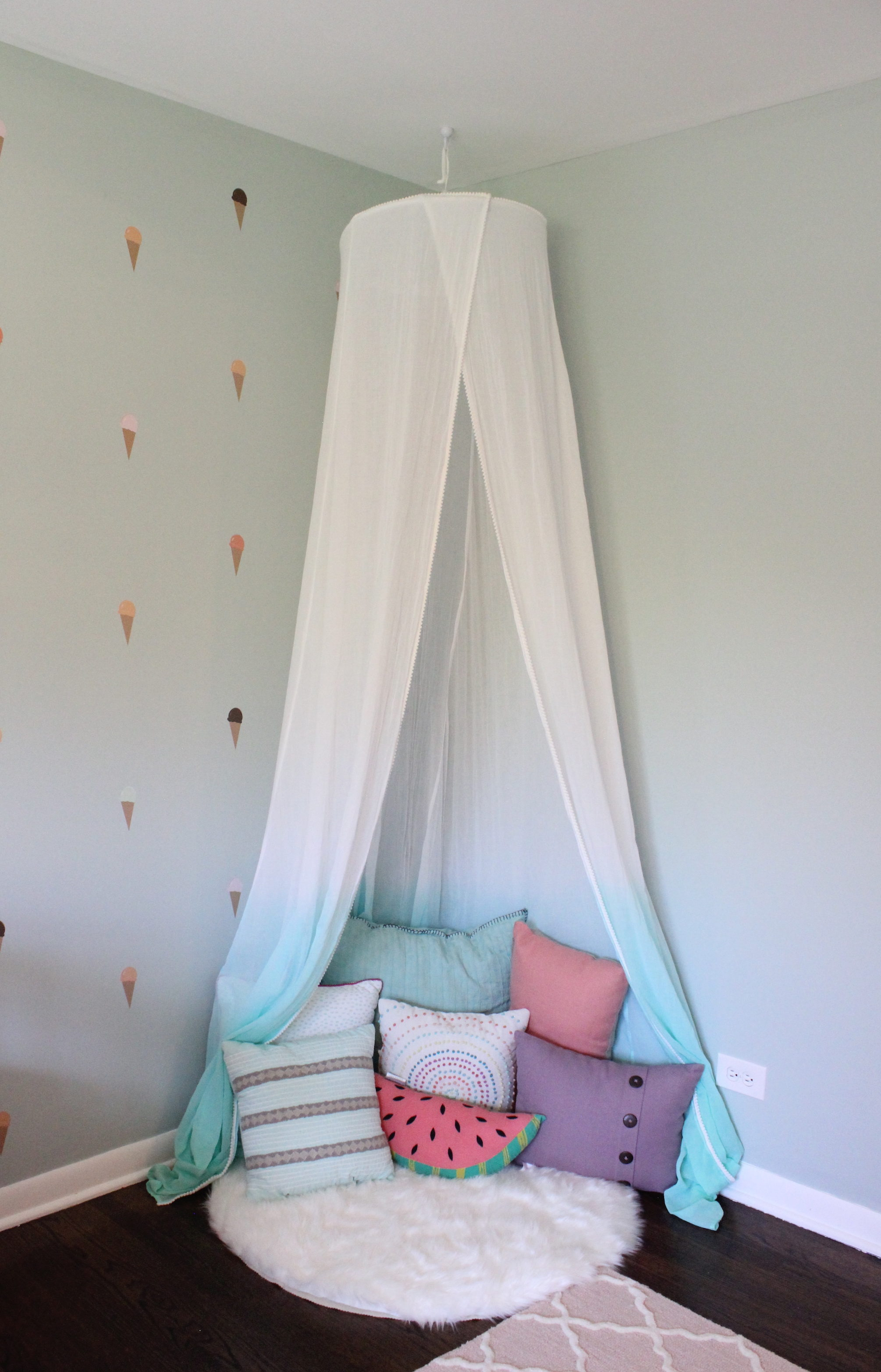 ... under the canopy from Etsy and then filled it with pillows. The watermelon pillow is from Land of Nod and the others are from Target and World Market. & Kateu0027s Big Girl Room | 12 Oaks